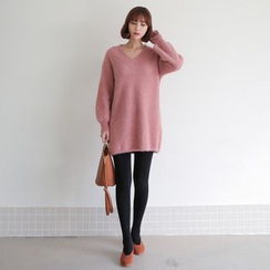 WITH IPUN - V-Neck Furry Knit Sweater