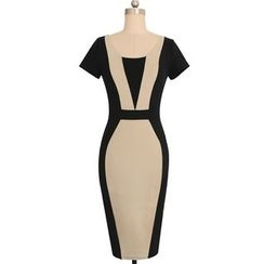 Forest Of Darama - Two-Tone Short-Sleeve Midi Sheath Dress