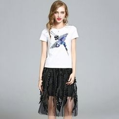 Merald - Set: Sequined Short-Sleeve T-shirt + Mesh Panel Mini Skirt