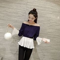IndiGirl - Off-Shoulder Pleated Top