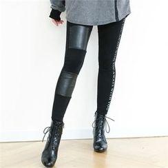 GLAM12 - Contrasted Panel-Trim Leggings