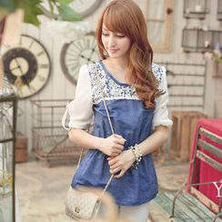 Tokyo Fashion - Long-Sleeve Lace-Panel Denim Top