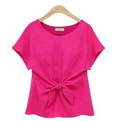 LIVA GIRL - Short-Sleeve Bow Tie Chiffon Blouse
