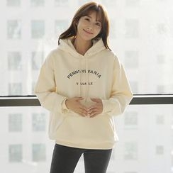CLICK - Hooded Lettering Print Pullover