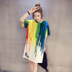 Bloombloom - Multicolor Print T-Shirt Dress