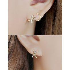 soo n soo - Rhinestone Cross Earrings