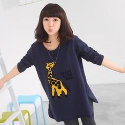 59 Seconds - Long-Sleeve Giraffe Embroidered T-Shirt