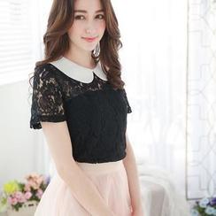 Tokyo Fashion - Short-Sleeve Panel-Collar Lace Top