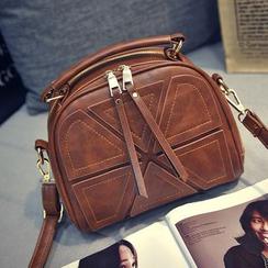 Diamante - Faux Leather Panel Shoulder Bag