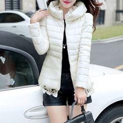 Athena - Lace-Hem Padded Jacket