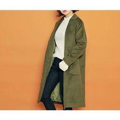 HOTPING - Single-Breasted Pocket-Detail Coat