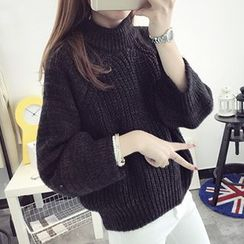 FR - High Neck Cable Knit Sweater