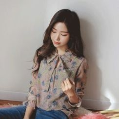 JUSTONE - Tie-Neck Frilled Floral Chiffon Blouse