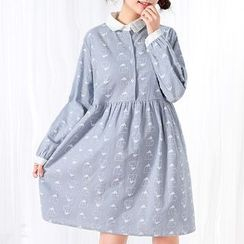 Fairyland - Print Collared Long-Sleeve Dress