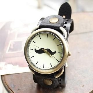 Miss Girl - Moustache-Print Strap Watch