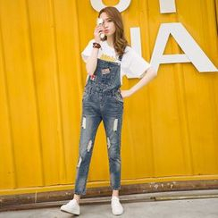 Arroba - Distressed Denim Dungaree