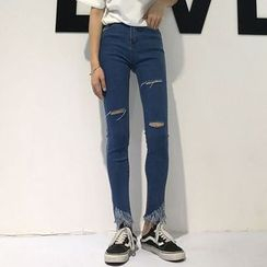 Ashlee - Fray Hem Skinny Jeans
