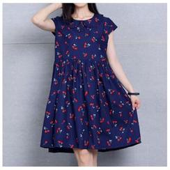 Clover Dream - Cherry Print Peter Pan Collar Dress