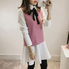 lilygirl - Set: Ruffle Hem Long Shirt + V-Neck Knit Vest
