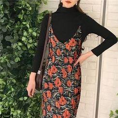 HL哈嘍妹妹 - 套裝: 高領針織上衣 + 碎花吊帶裙