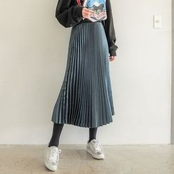 Seoul Fashion - Accordion-Pleat Satin Long Skirt