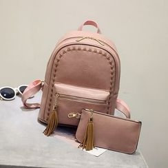 Bag Affair - Set : Tasseled Faux Leather Backpack + Pouch