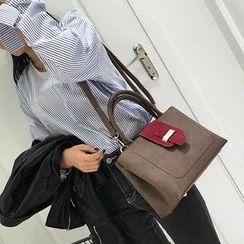Clair Fashion - Faux-Leather Color-Block Shoulder Bag