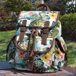 Lily Queen - Canvas Floral Flap Backpack