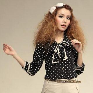 Power Sweet - 3/4-Sleeve Tie-Neck Polka Dot Blouse