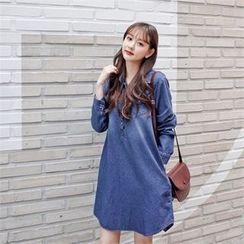 Styleberry - Half-Placket Denim Shirtdress