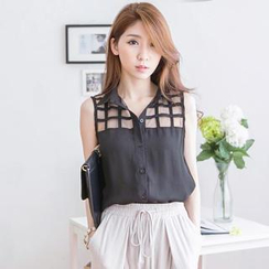 Tokyo Fashion - Check Tulle-Panel Sleeveless Blouse