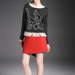 Alaroo - Printed Fringed Knit Top