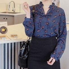 mimi&didi - Frill-Neck Tie-Front Flower Patterned Top