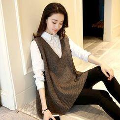 Shomez - Set: Knit Vest + Plain Shirt