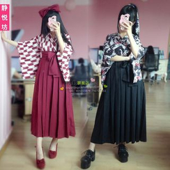 Cosgirl - Party Costume Set: Kimono Top + Pleated Midi Skirt + Headband