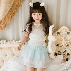 糖果雨 - 兒童短袖蕾絲上衣