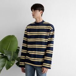 Seoul Homme - Crew-Neck Long-Sleeve Striped T-Shirt