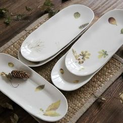 Kawa Simaya - Leaf Print Oval Plate
