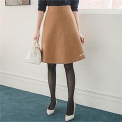 ode' - Wool Blend A-Line Skirt