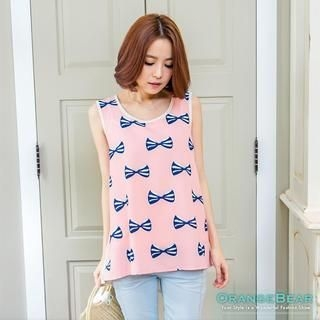 OrangeBear - Bow-Print Panel Chiffon Tank Top