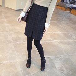 mimi&didi - Slit-Hem Wool Blend Plaid Skirt