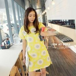 REDOPIN - Sunflower Print A-Line Dress