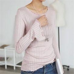 CHICFOX - Slit-Sleeve Ribbed Slim-Fit T-Shirt