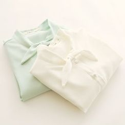 Bonbon - Stand Collar Short-Sleeve Chiffon Blouse