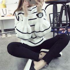 Qimi - Lantern-Sleeve Striped Sweater