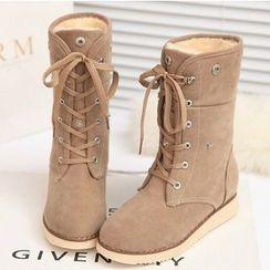 Shoeland - Lace Up Mid Cuff Boots