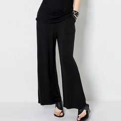 FASHION DIVA - Band-Waist Wide-Leg Pants