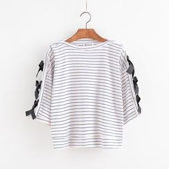 Lemon Town - Bow Detail Striped 3/4-Sleeve T-Shirt