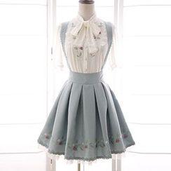 Reine - Strawberry Embroidered A-Line Suspender Skirt