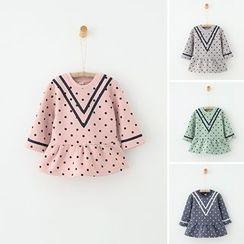 Rakkaus - Kids Long-Sleeve Paneled Dotted Dress